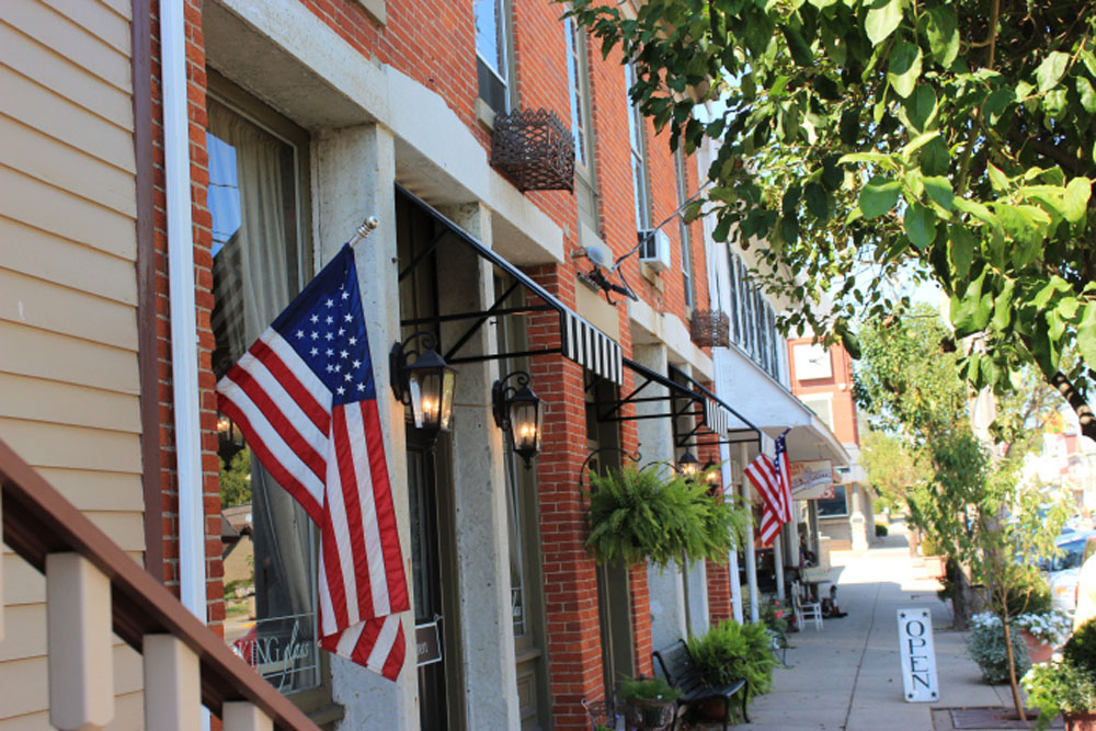 downtown mainstreet with flag